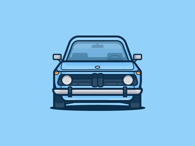 BMW 2002 tii race vintage bmw auto car illustration icon vector