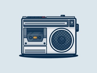Radio stereo tape electronics analog tech illustration icon vector