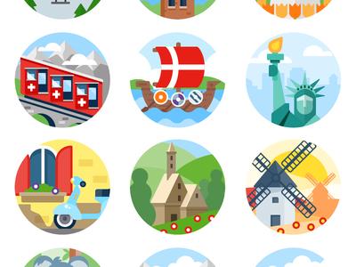 Badges country landmarks badge illustration icon vector