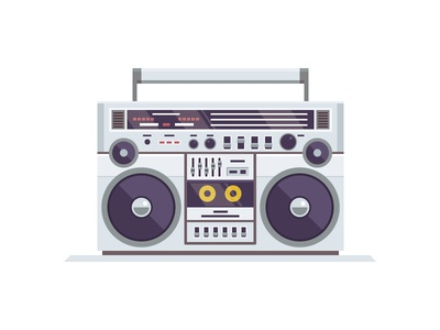 Turbo  illustration vector icon stereo tape ghetto baster boombox radio