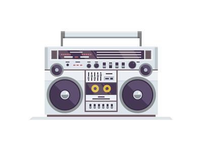 Turbo  illustration vector icon stereo tape ghetto baster boombox radio