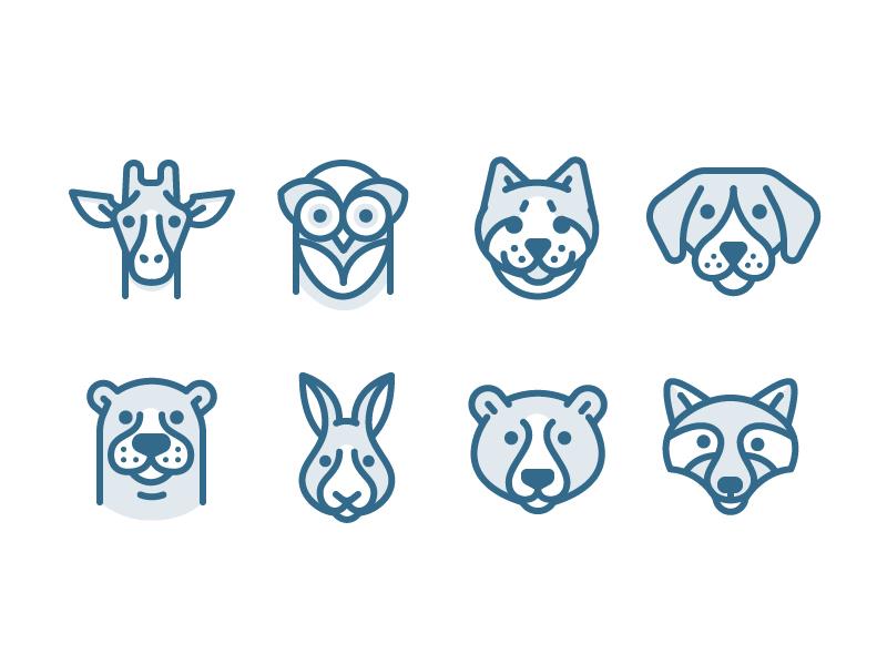 Few of my friends raccoon bear rabbit otter dog cat owl giraffe icon vector