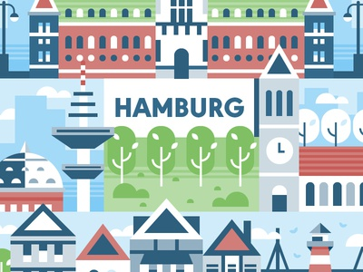 Hamburg 🇩🇪 germany building skyline cityscape illustration icon vector