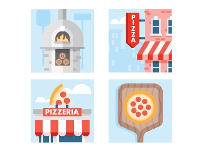 Pizza Time city sign oven pizza building icon illustration