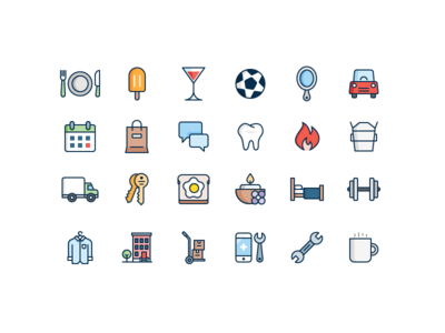 Business Category Icons phone building car food illustration icon