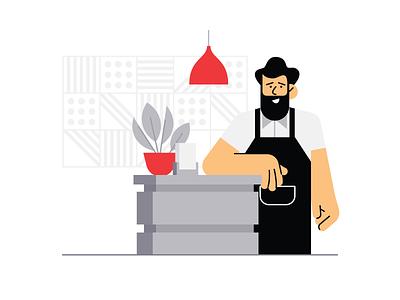 Restaurant Host hipster character restaurant design illustration vector