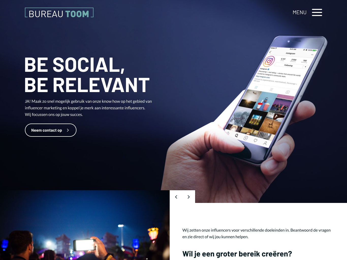 Hero image with call to action and slider by bureau feith
