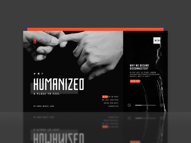 Humanized - Blog And Journal Website Concept color dark web dark ui minimal dark theme figma design ux ui