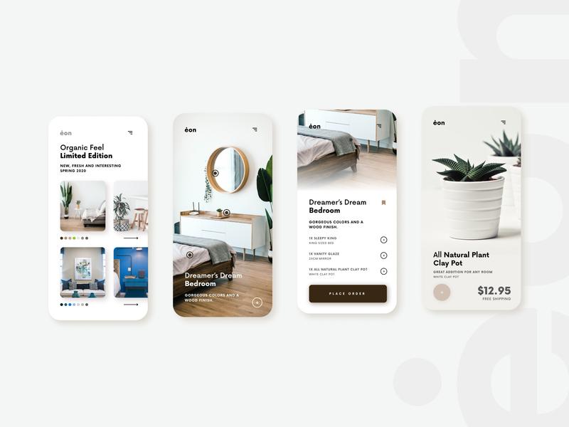ėon - Shopping App Concept color uidesign branding dailyui simple light app minimal figma design ux ui