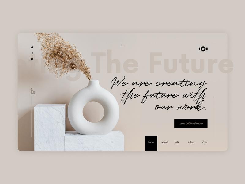 Interior Design Website Concept natural beige minimalistic furniture color web minimal figma design ux ui