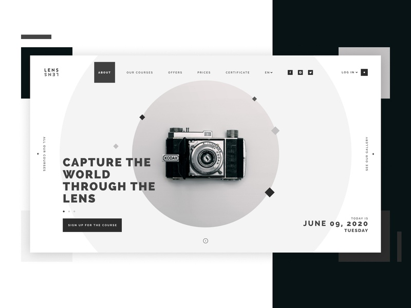Lens - Photography Course dark branding web blackandwhite dark theme dark ui minimal figma design ux ui