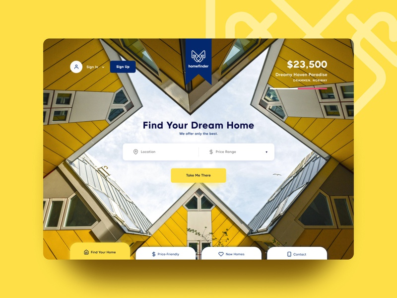 Homefinder typography illustration logo offers search engine branding color figma design ux ui