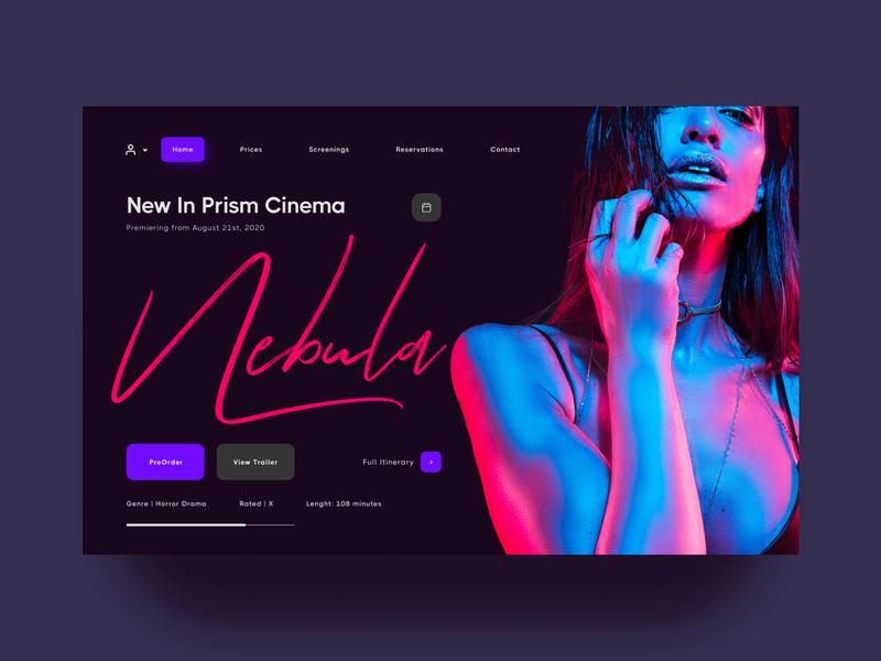Prism Cinema (Re-Upload) uidesign dark dark ui neon dark theme color minimal figma design ux ui