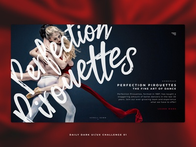 Daily Dark UI/UX Challenge 01 - Perfection Pirouettes