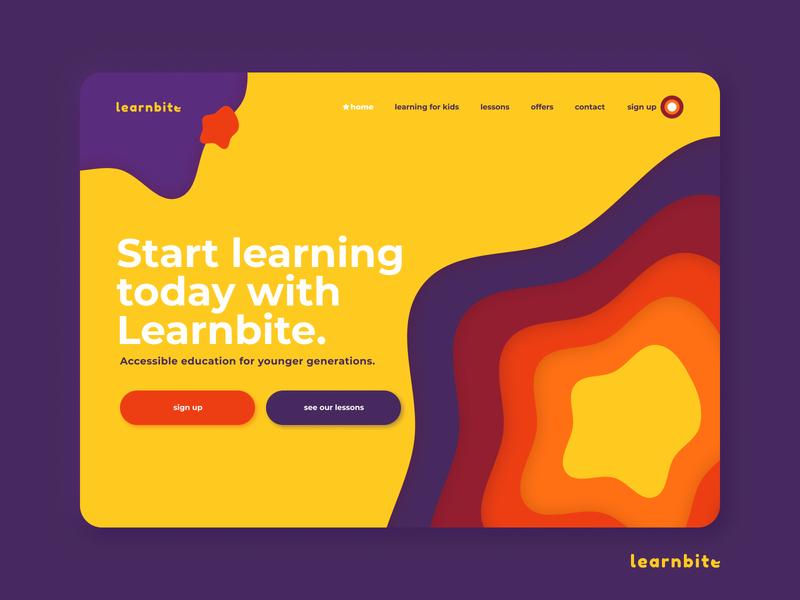 Learnbite - Learning Website App DEMO colorful vector illustration web figma design ux ui color kids app