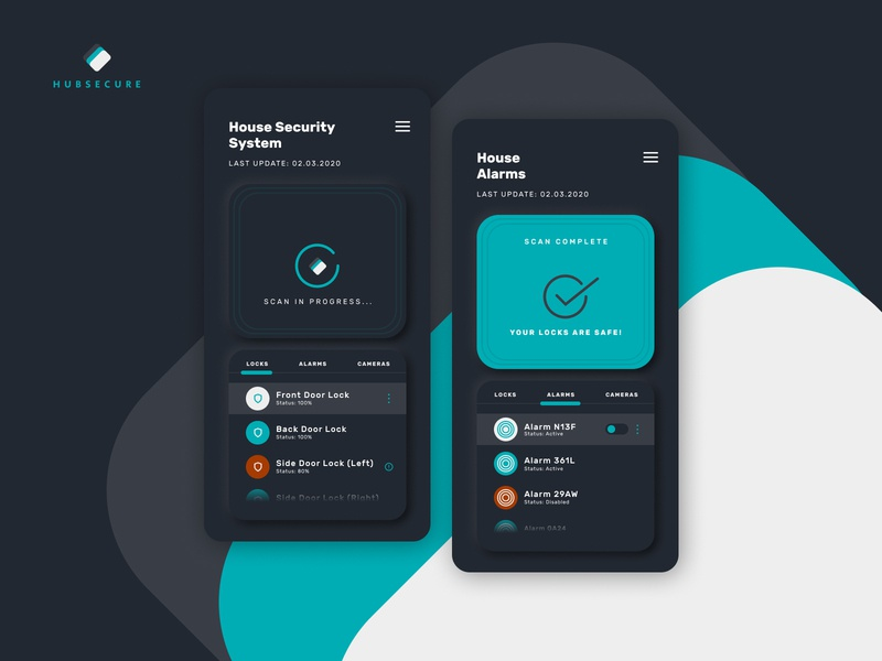 Hubsecure - House Security App Daily UI dailyui uidesign dark dark ui dark theme minimal figma design ux ui