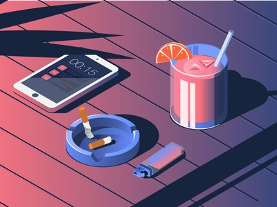 Late Night Drinks summer vibes colors vibrant icon illustration vibe drinks vector graphic gradient design artwork