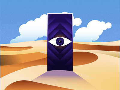Eye of the desert icon eyes grainy artwork grain colors vector illustration graphic gradient desert illustration eye desert