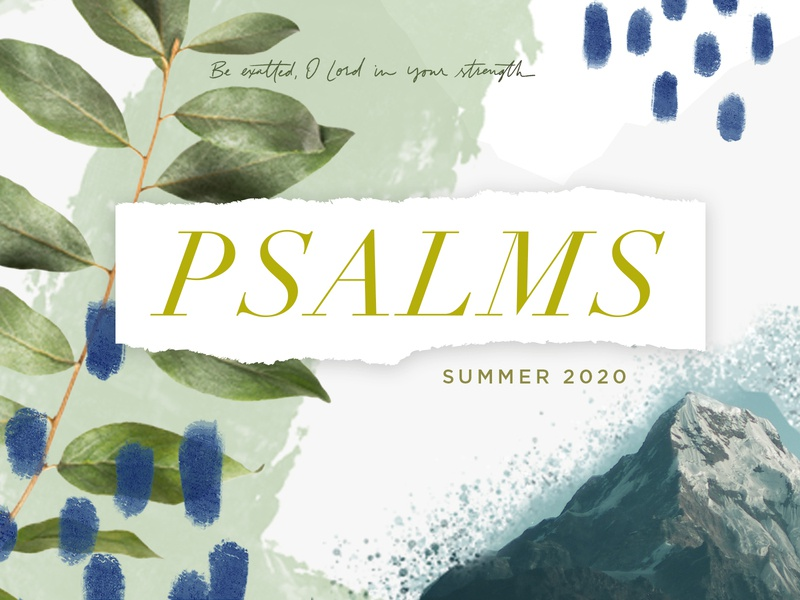 Psalms sermon series sermon texture rough natural leaves collage mountain script handpainted serif typography illustration