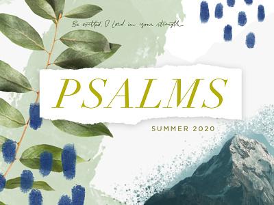 Psalms sermon series sermon texture rough natural leaves collage mountain script handpainted serif typography illustration