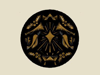 Christmas 2020 savior bird gold star worship holiday emblem seal christmas eve christmas holly manger crown trumpet horn texture illustration