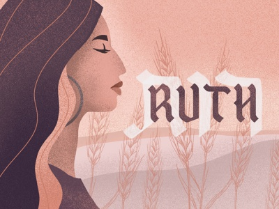 Ruth hebrew type procreate flat vector texture ruth bible silhouette profile figure woman grain hebrew handlettering series handlettered typography illustration