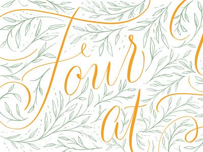 4 Years handlettering script handlettered leaves calligraphy floral art lettering typography illustration