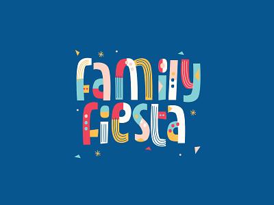 Family Fiesta event branding colorful bright fiesta design lettering handlettered typography illustration
