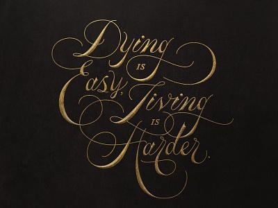 Hamilton quote typography gold formal flourish script lettering