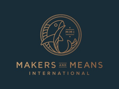 Makers and Means coin money fish logo design typography illustration monoline