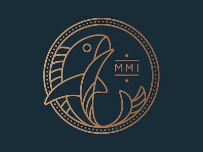 Makers and Means fish logo fisherman coin animal money fish logo design typography illustration monoline