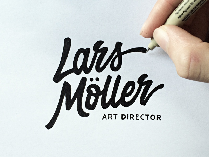 Lars Möller - Art Director (Sketch) hand drawn brush sketch calligraphy typography logotype logo hand lettering font type typeface pencil