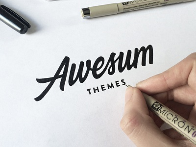 Awesum Themes hand drawn brush sketch calligraphy typography logotype logo hand lettering font type typeface pencil