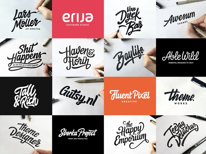 Lettering & Logotype Vol.2 hand drawn brush sketch calligraphy typography logotype logo hand lettering font type typeface pencil