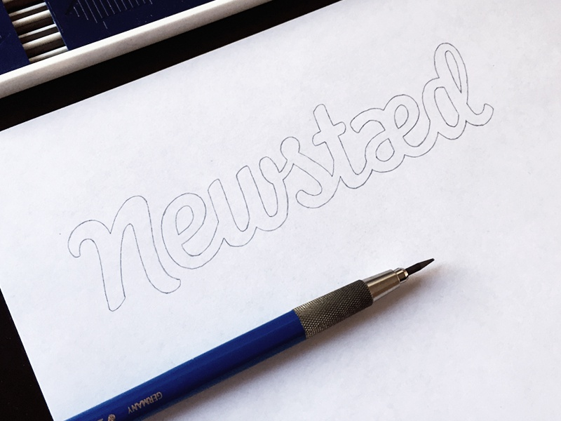 Newstaed pencil typeface type font hand lettering logo logotype typography calligraphy sketch brush hand drawn