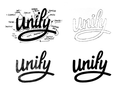 """Revising """"Unify"""" hand drawn brush sketch calligraphy typography logotype logo hand lettering font type typeface pencil"""