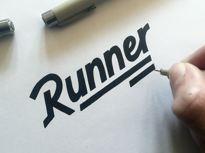 Runner, shirt lettering word mark lettering wordmark hand drawn sketch calligraphy typography logotype logo hand lettering type pencil