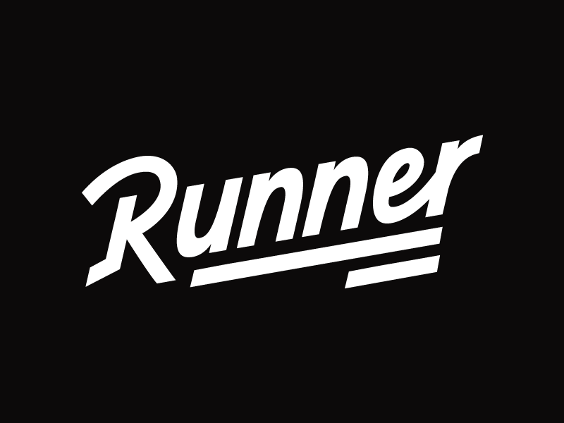Runner hand drawn brush sketch calligraphy typography logotype logo hand lettering font type typeface pencil