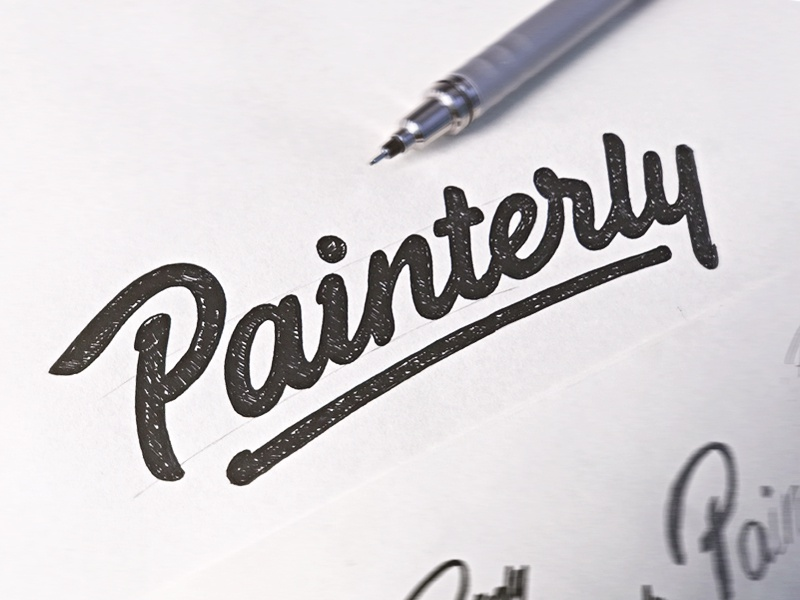 Painterly - Sketch hand drawn brush sketch calligraphy typography logotype logo hand lettering font type typeface pencil
