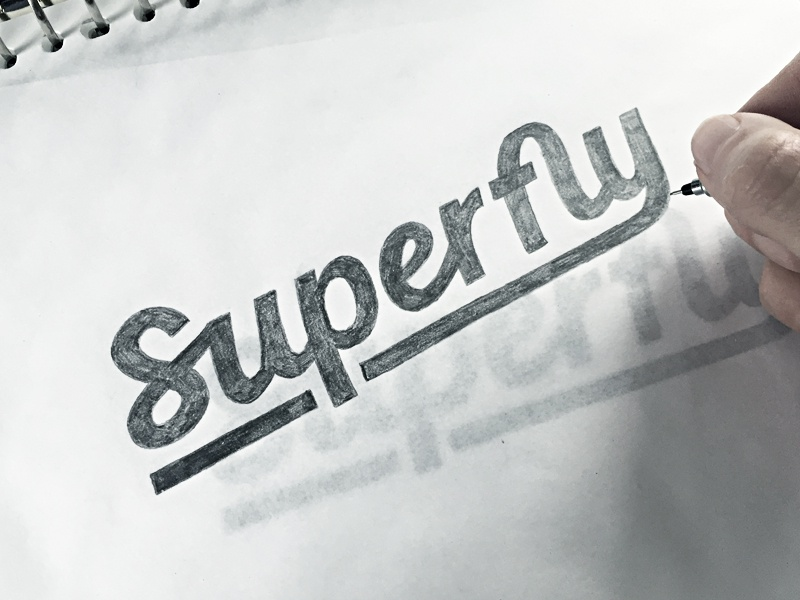 Superfly hand drawn brush sketch calligraphy typography logotype logo hand lettering font type typeface pencil