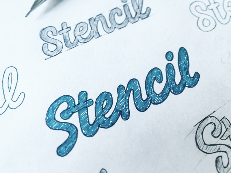 Stencil - Process pencil typeface type font hand lettering logo logotype typography calligraphy sketch brush hand drawn
