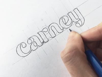 Carney logo logotype print lettering wordmark typograpy type handtype