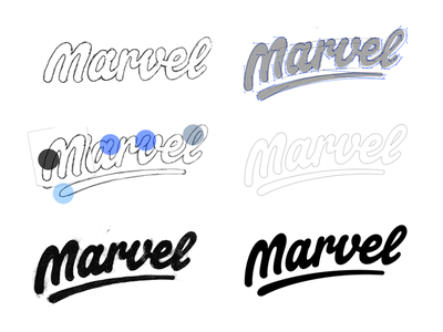 Marvel - An insight into my Process word mark type typograpy wordmark lettering sticker logotype logo