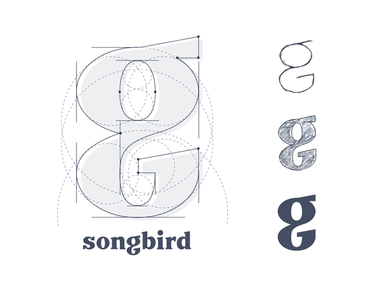 The G from Songbird. grid logo branding serif logo type lettering script word mark identity
