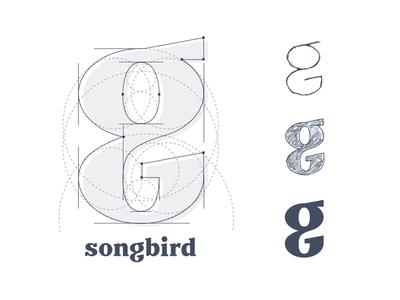The G from Songbird. grid logo branding serif logo type lettering script word mark identity