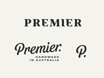 Premier grid logo branding serif logo type lettering script word mark identity