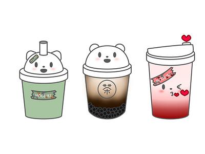 Moge Tee matcha bubble tea illustration boba tea