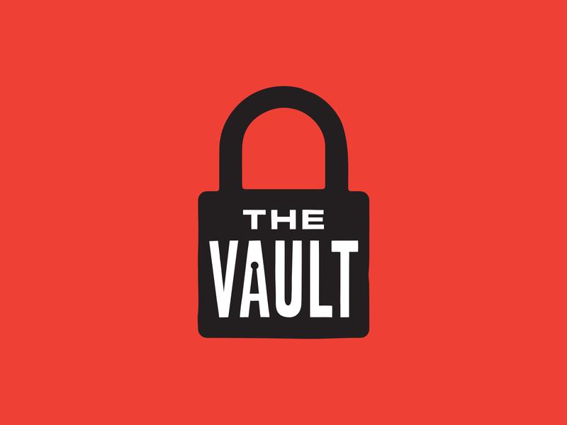 The Vault Logo idenity lockup lock key logo vault