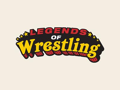 Legends of Wrestling typography vintage stars retro legends wrestling pro wrestling logo