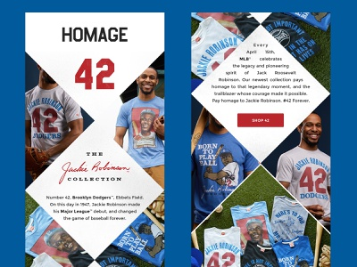 Jackie Robinson Collection Launch marketing campaign jackie robinson baseball mlb email campaign email marketing email design digital design major league baseball vintage design retail design topps dodgers brooklyn 42